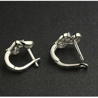 Fashion Korean Style Women Girls White Copper Plated Platinum Stud Earring B