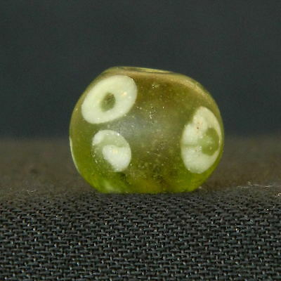 KYRA MINT - Antique ROMAN EYE (5) Glass BEAD -  11.2mm thickness -1000 years OLD