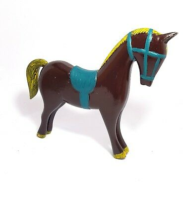 Vintage Collectible Hand Crafted Horse Panted Wooden Brown colorful Decorative