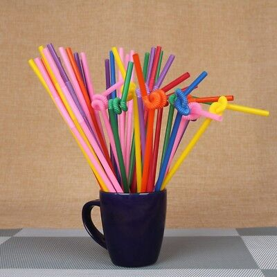 """100-1000Pc Super Extra Bendy Long Mega Drinking Straws 11"""" Coloured Special Gift"""