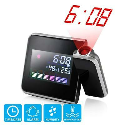 Projection Alarm Battery USB Digital Wall LED Display Clock Weather Backlight