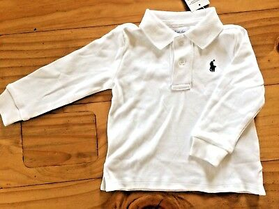 Ralph Lauren Baby Boy Polo Long Sleeve Top 12M New With Tags BNWT White Gift