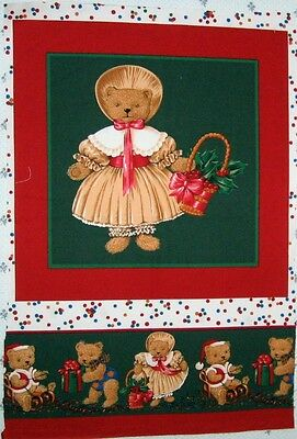 """1 Darling """"Christmas Miss Teddy"""" Cotton Fabric Quilting Panel"""