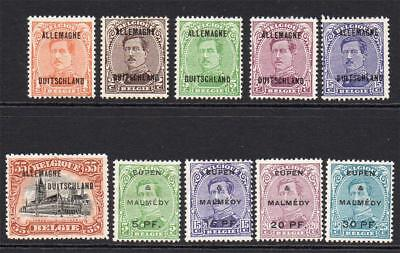 Belgian Occupation of German 10 Stamps c1919 Mounted Mint