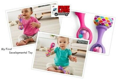 Developing Toy Maracas Pink/Purple 2 pcs Shake Soft Colorful For Baby Girl & Boy