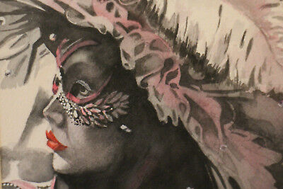 Watercolour original signed Perrelli carnival from venice mask painting