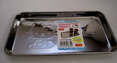 JAPANESE SANRIO HELLO KITTY STAINLESS TRAY Squere  type Made In JAPAN