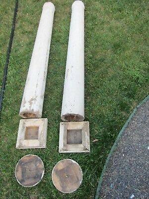 Pair 5 Foot + Heavy Wood Tapered Column Vintage Architectural Salvage
