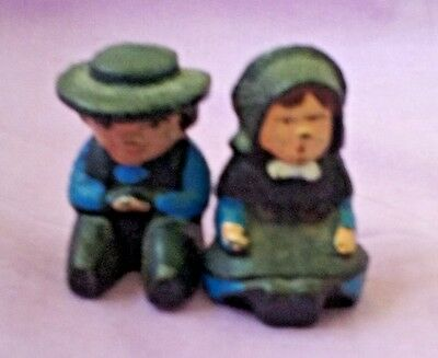 VINTAGE CAST IRON AMISH FIGURINES ~ SITTING BOY & GIRL in BLUE ~ LANCASTER CO