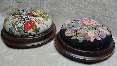 Two Vintage Tapestry Wooden Foot Stools on 3 feet