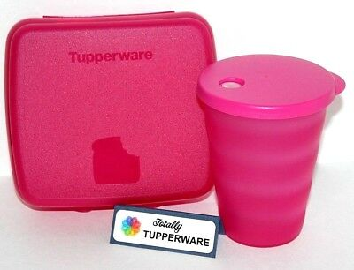 Tupperware Lunch Set Sandwich Keeper Box & Tumbler 11 oz. Impressions Cup Pink