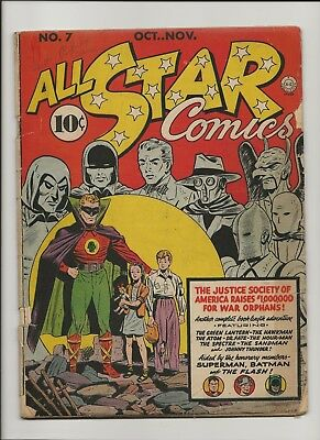 ALL STAR 7 (1941) -1st time Superman & Batman appear together in a story!