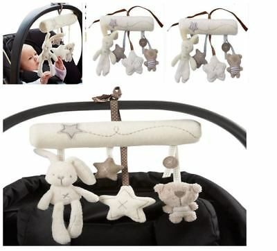 Infant Baby Hanging Activity Plush Toy Sweet Rabbit for Safety Chair & Stroller