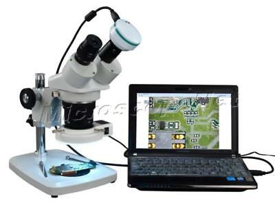 Binocular Multi-Power Stereo Microscope 5X-60X LED Ring Light+2MP Digital Camera