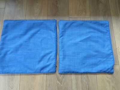 2 x DUNELM BLUE THERMAL LINED CUSHION COVERS SIZE 44CM x 44CM