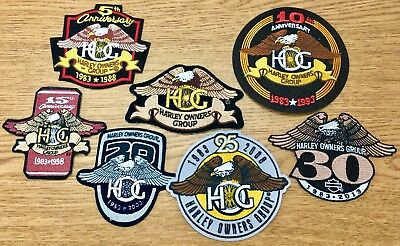 Harley Davidson Lot Of 7 Patches, Hog Patch, Hog Anniversary Patch Set. Awesome