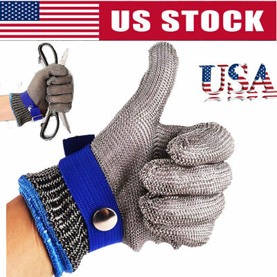 Safety Cut Proof Stab Resistant Stainless Steel Gloves Metal Mesh Butcher New