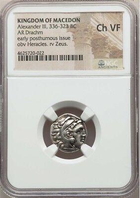 "Kingdom of Macedon, Alexander III, ""The Great"", 336-323 BC, AR Drachm, NGC Ch VF"
