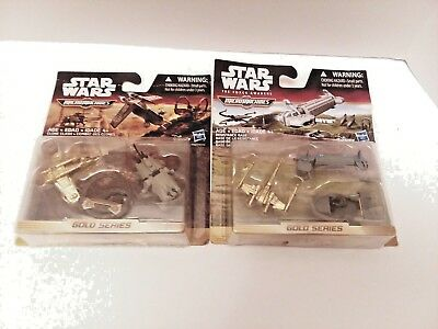 Lot (2) Star Wars Micro Machines Gold Series Clone Clash & Resistance Base