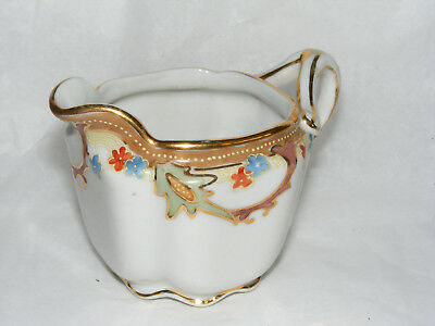Anitque Hand Painted Floral Creamer Dish with Gold Painted Trim C13