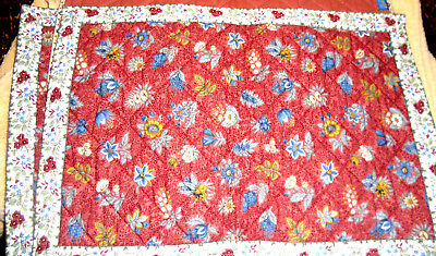 "Valdrome ( 3) Quilted Place Mats Rust w/ flowers Cotton 11"" x 16"""