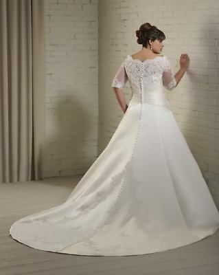 Half Sleeves Plus Size Lace Appliques Wedding Dress Bridal Gown Custom Made