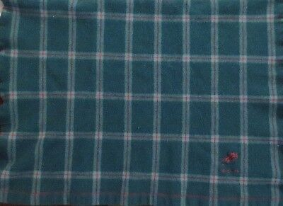 VINTAGE CATHAY PACIFIC AIRLINE LAMBSWOOL PLAID BLANKET by John Horsfall & Sons