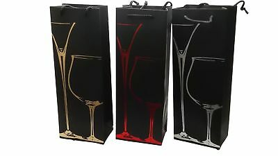 3 x Deluxe Matt Black Wine Bottle Present Gift Bags Red Gold and Silver Design