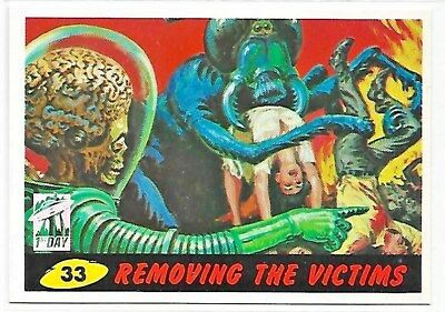 Mars Attacks Removing THe Victims 1st Day Stamp #33 Topps Archives 1994