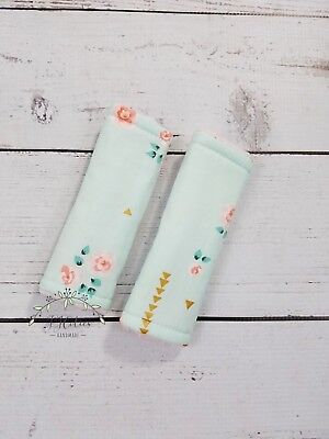 Reversible Infant Baby Girls Pink Mint Coral Minky Car Seat Strap Cover Nursery