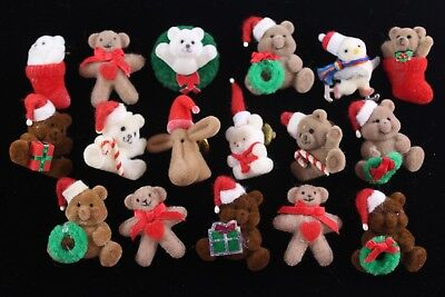 Huge Lot of 17 Vintage 1980's Christmas Fuzzy Bear Brooch Lapel Pins ADORABLE 🎄