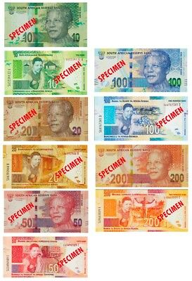 2018 South Africa Set Unc 10 20 50 100 200 Rand  Nelson Mandela 100Th