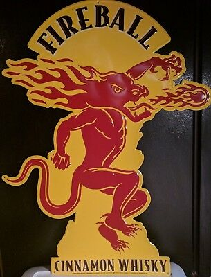 "Fireball Cinnamon Whisky Tin Sign 36"" x 27 1/4"" Great for Man-cave Collector WOW"