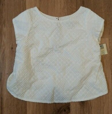 Genuine Kids 4T White Textured Split Back Shirt Toddler Girls Oshkosh