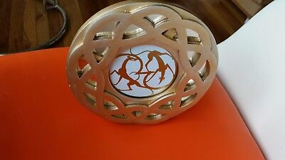 Celtic sighthounds greyhounds in new Nicole Miller round glass desk frame
