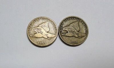 1857 AND 1858 Flying Eagle Cents! Both Have Great Details!  See Photos!