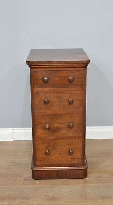 Antique Victorian mahogany bedside chest of drawers