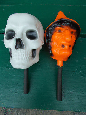 Vintage 1960's  Halloween Bayshore Witch &  Skull Plastic Shakers On A Stick