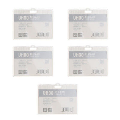 5PCS White Horizontal ID Badge Holder Card Holder Heavy Duty Acrylic Durable