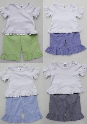 Beehave Infant Toddler Girl's Capri Pants Set Gingham Check Ruffled Boutique New
