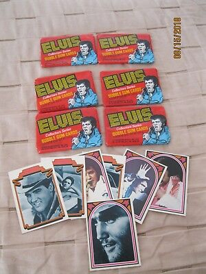 1978 Donruss ELVIS PRESLEY 6 Packs Sealed Bubble Gum Trading Cards plus 7 Loose