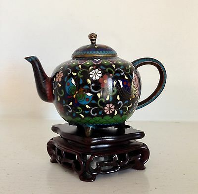 "Fine Antique Meiji Japanese Cloisonne 5"" Teapot ~Golden Age ~Superb Tripod Stand"