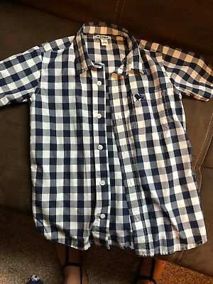 Boys Top Shirt Old Navy Cute White Blue Plaid Short Sleeve Button Up S Blue
