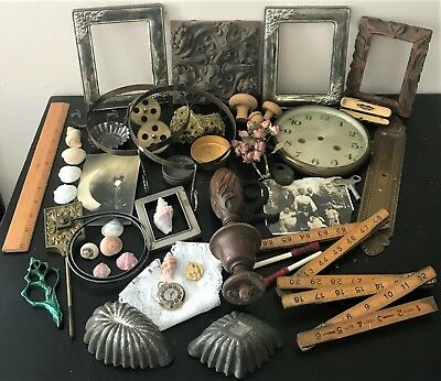 Lot Random Assorted Vintage Objects Altered Art Assemblage Supplies Box Lot