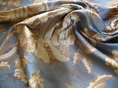 """100%silk Lampas Mythical Huge Tree Of Life """"empire"""" Blue (G507) Bty"""