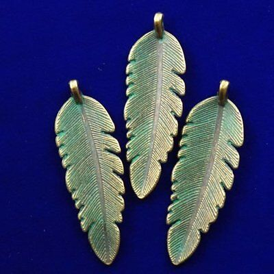 3pcs Carved Brass Bronze Leaf Pendant Bead 45x15x1mm N13879