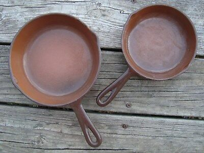 Vintage Enameled Cast Iron Pan Skillet Cookware Camping DBL SPOUT LOT OF 2