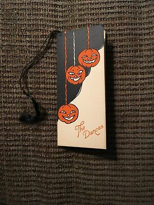 Vintage Halloween Bridge Dance Card Jack O' Lanterns 20's EXCELLENT