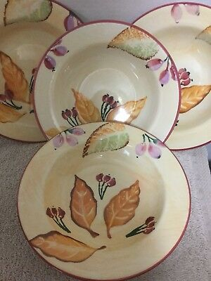 "Home Trends 8"" Pottery Fruit Pattern Granada Bowls Soup Salad Italy Set Of 4"