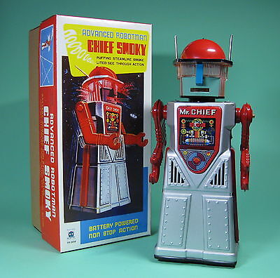 Schöner Roboter Chief Smoky Robotman Battery Operated Re Edition *****